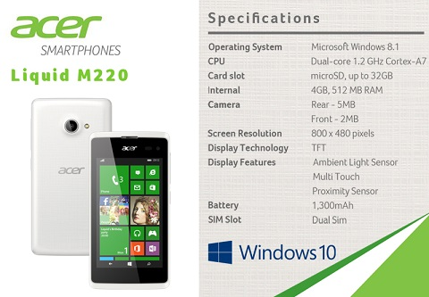 ACER M220 SPECS