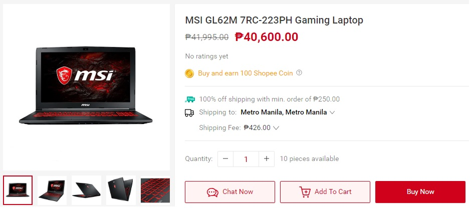 MSI GL62M 7RC-223PH gaming laptop