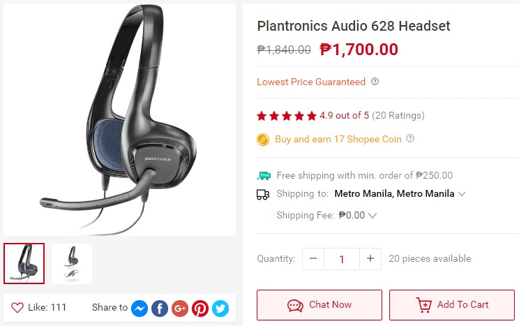 Plantronics Audio 628 headset