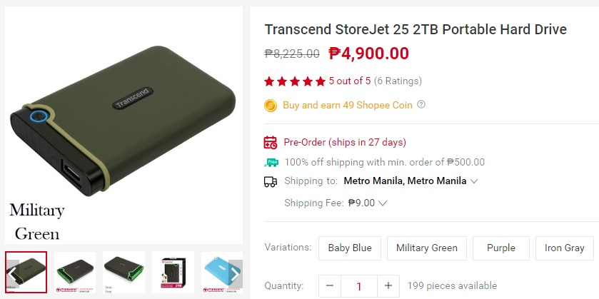 Transcend StoreJet 25 2TB Portable Hard Drive