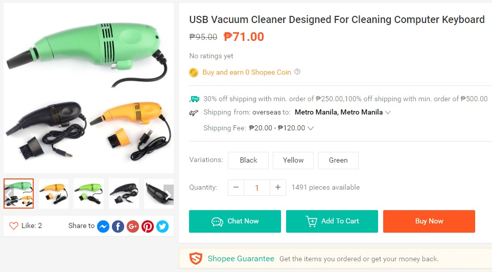 USB Vacuum Cleaner for computer keyboard