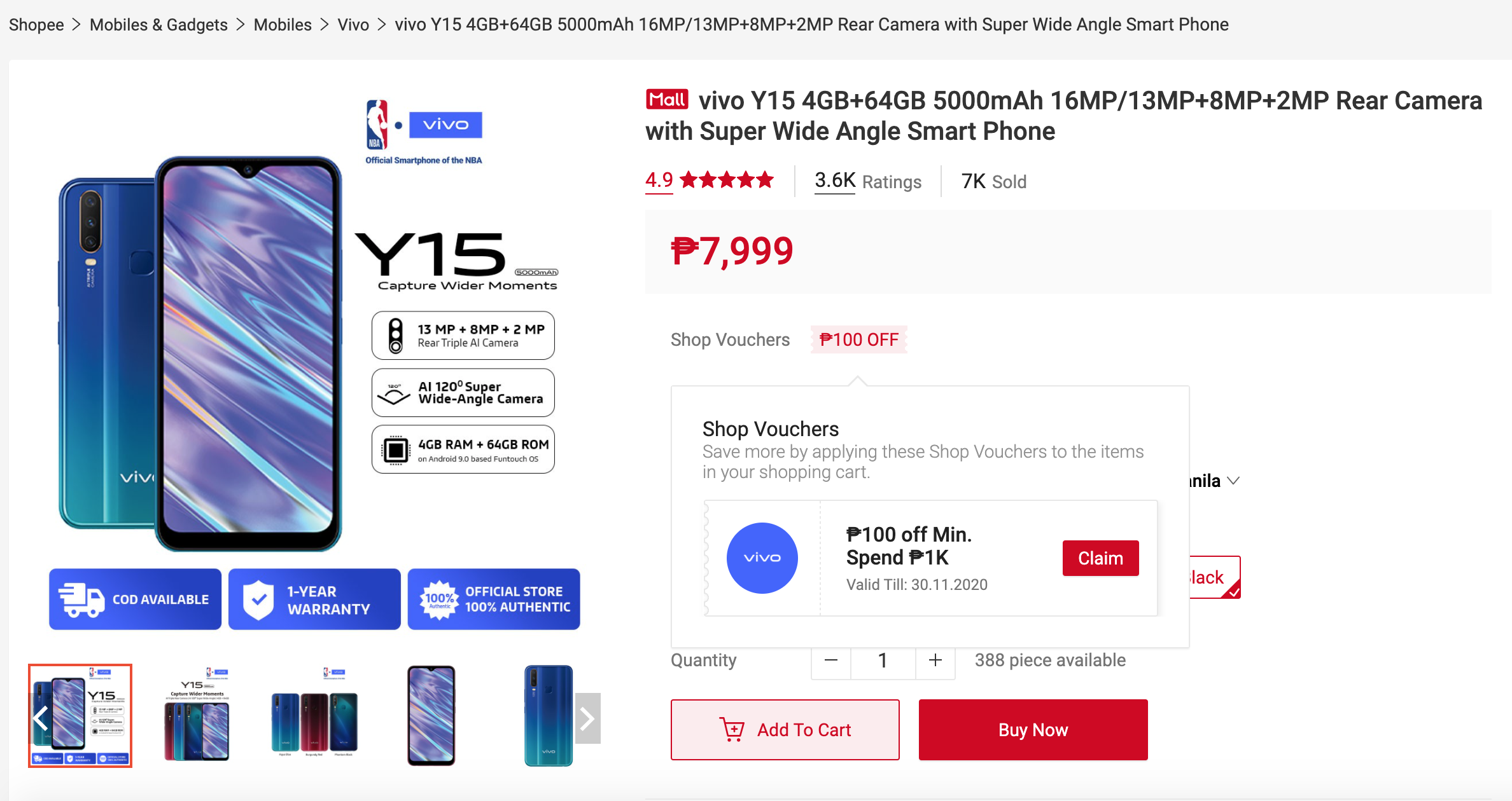 ●	Up to 33% off on Vivo Super Brand Day from October 23-25